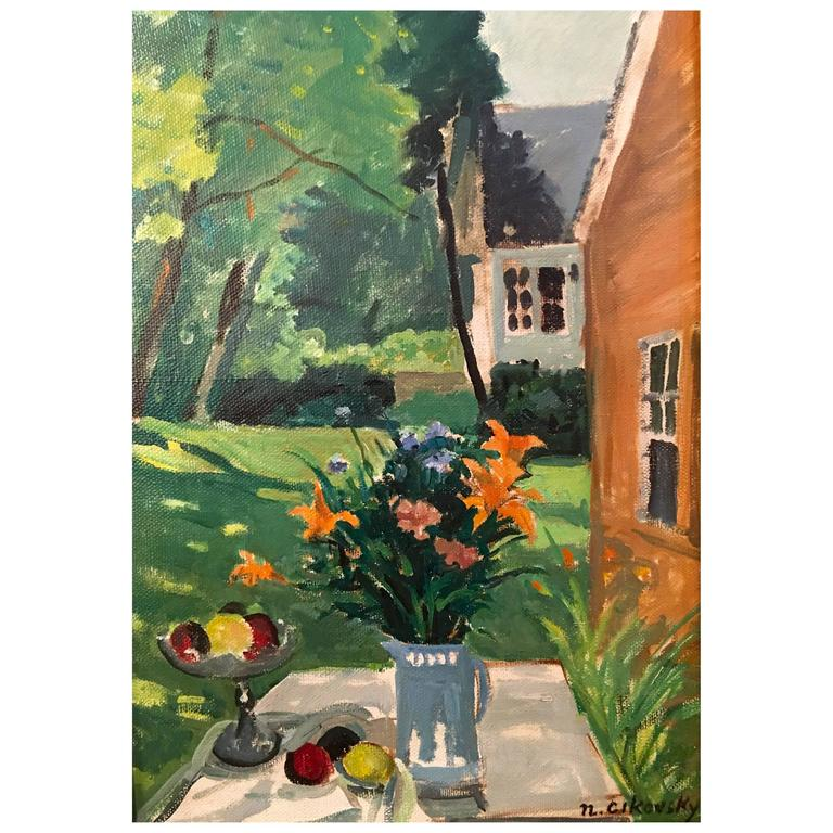 "American Post-Impressionist Painting ""Southampton Garden"" by Nicola Cikovsky"