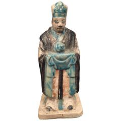 Important Ancient Chinese Zodiac Figure Holding a Snake, Ming Dynasty, 1368-1644
