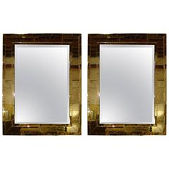 Pair of Art Deco Style Brick Framed Distressed Wall Console Mirrors
