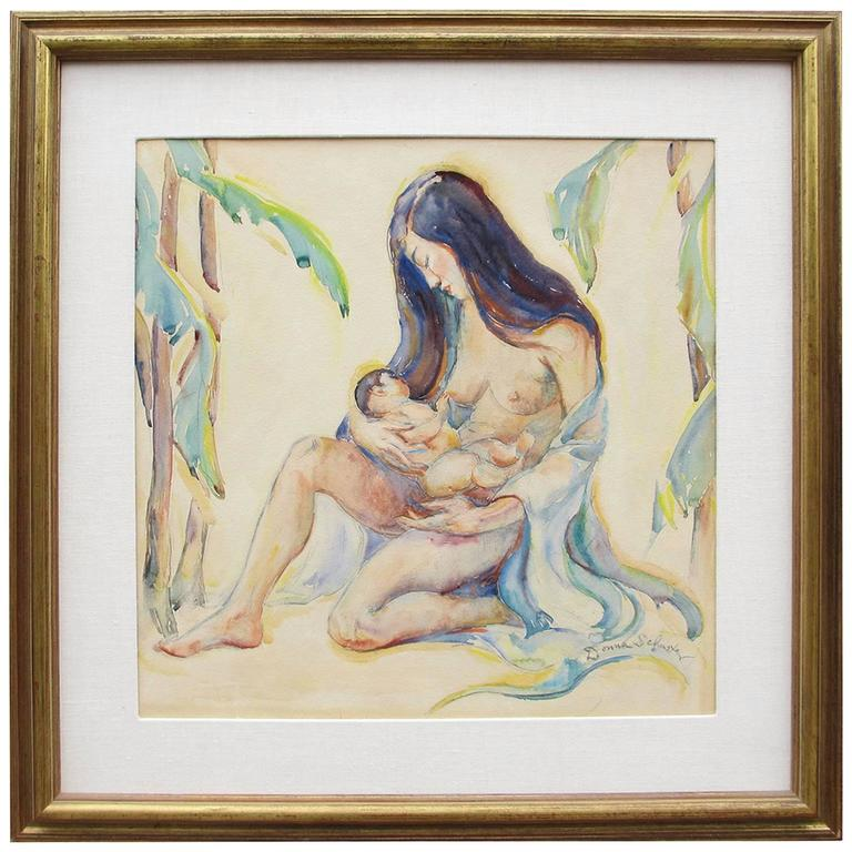 "Donna Schuster ""Mother and Child"" Watercolor, Pencil and Gouache"
