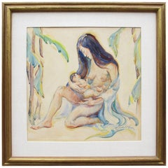 """Donna Schuster """"Mother and Child"""" Watercolor, Pencil and Gouache"""