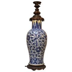 Large Chinese Blue and White Porcelain Lamp Base with French Bronze Mounts