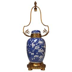 A Chinese Blue and White Porcelain Lamp Base with French Bronze Mounts