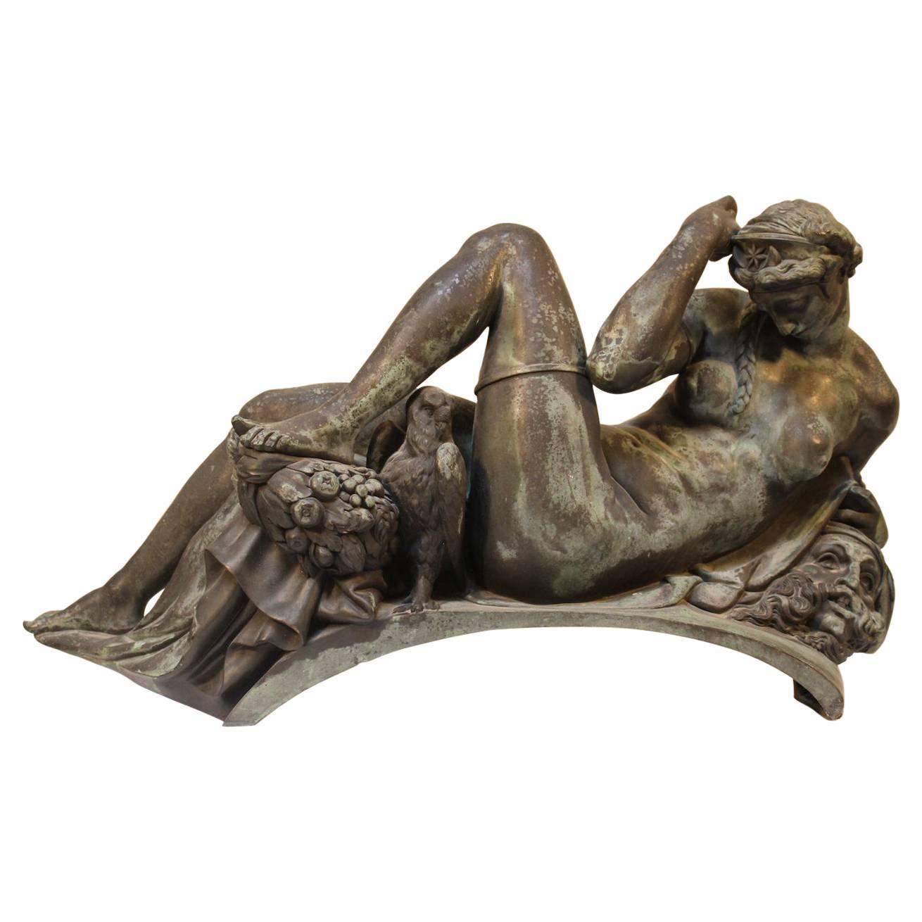 Large Bronze Sculpture Depicting a Di Medici Tomb Figure
