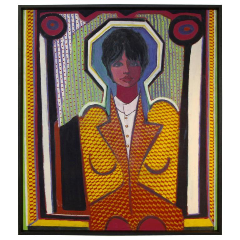 Fabulous Pop Art Painting by George Dergalis Dated 1966 For Sale