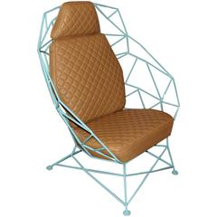 Custom Handmade Powder Coated Chair with Stylized Stitch Detail Leather Cushions