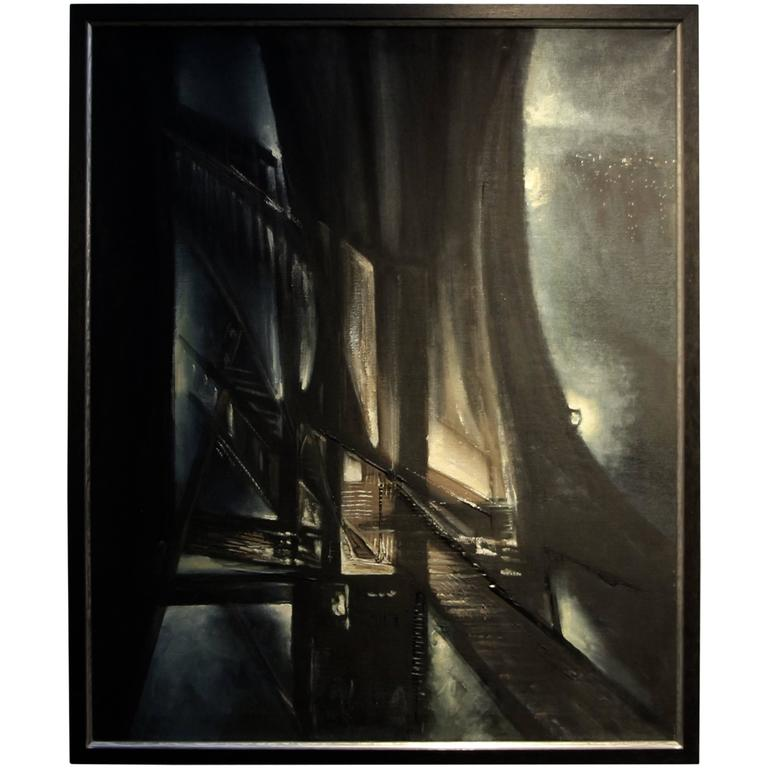 George Dergalis Abstracted Cityscape Night Scene from 1974