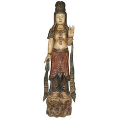 Chinese Carved Wood Standing Figure of Guanyin in the Ming Dynasty Style