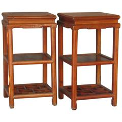Late Qing Dynasty Carved Hardwood Side Tables or Stands Southern Chinese