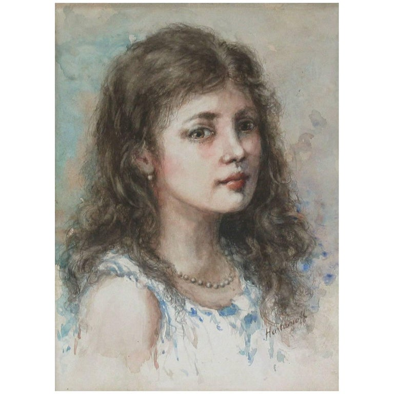 Watercolor in the Manner of Alexei Alexeievitch Harlamoff Russian, 1842-1915 For Sale