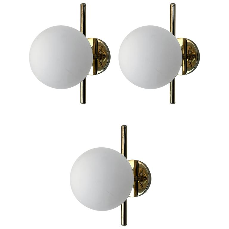 Set of Three 1950s Italian Mid Century Wall Lights