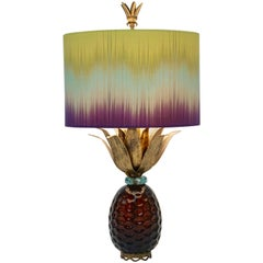 American 1990s Brass and Gold Glass Pineapple Lamp with Lime Blue Purple Shade