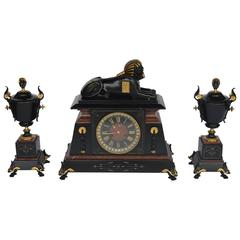 French Bronze and Marble Egyptian Inspired Clockset