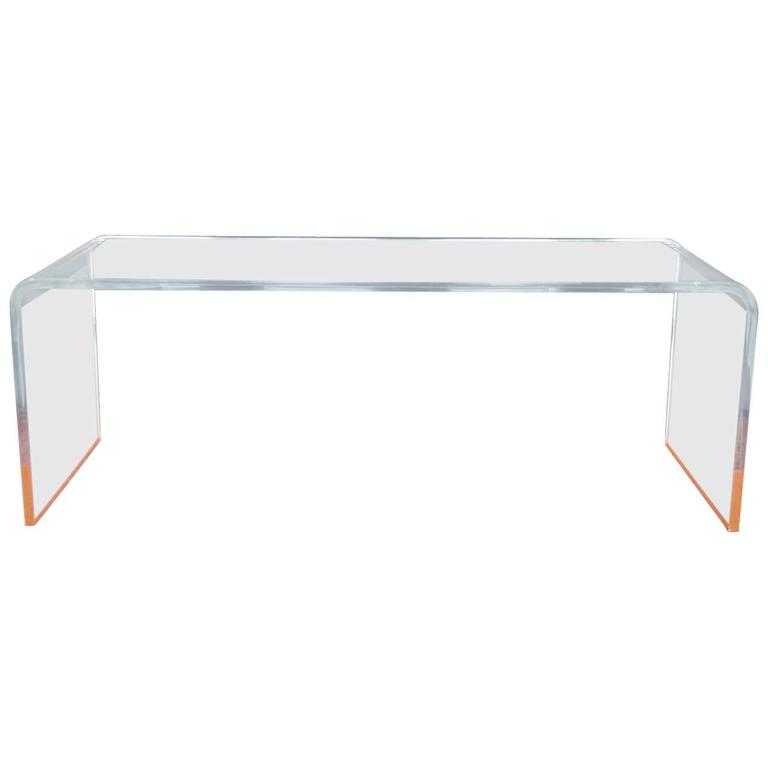 Lucite Coffee Table With Orange Accents For Sale At 1stdibs