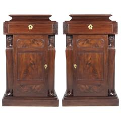 Pair of English Mahogany Pedestal Cupboards