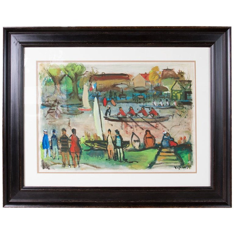 "Colorful Painting ""Course à l'Aviron"" by Sylvain Vigny For Sale"