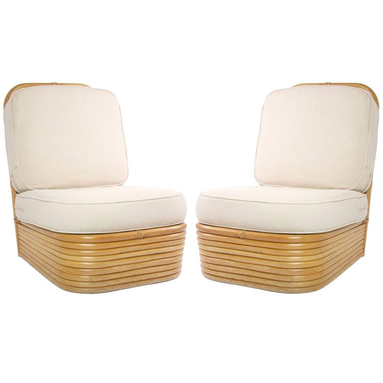Charmant Pair Of Paul Frankl Style Rattan Slipper Chairs For Sale