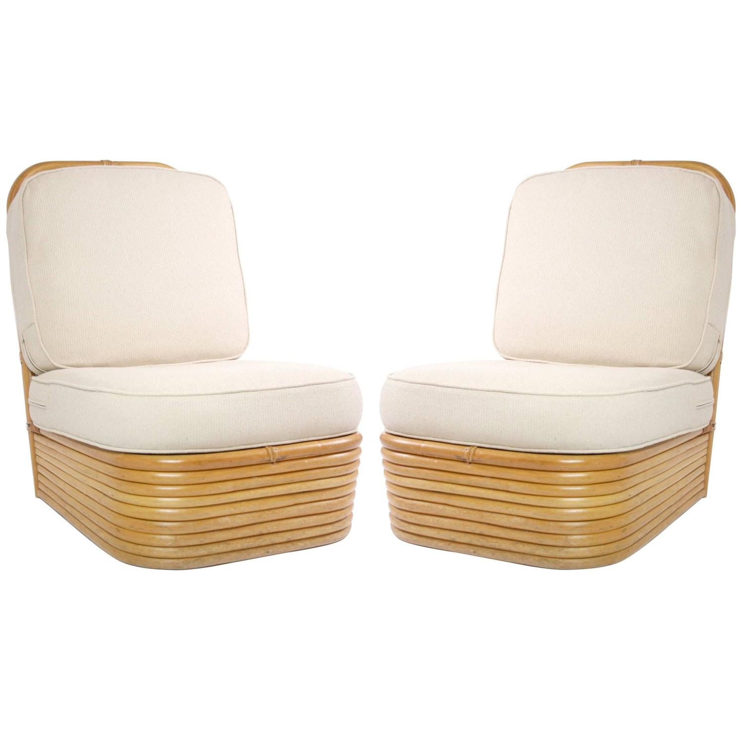 pair of paul frankl style rattan slipper chairs at 1stdibs