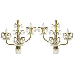 Pair of Hollywood Regency Brass, Crystal and Lucite Sconces