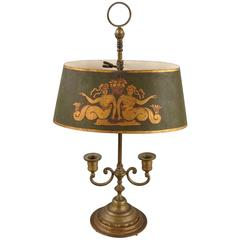 French Brass Two-Light Bouillotte Lamp with Mermaid Decorated Shade
