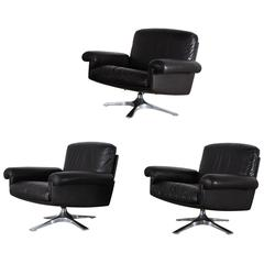 De Sede DS 31 Three Swivel Lounge Club Armchairs