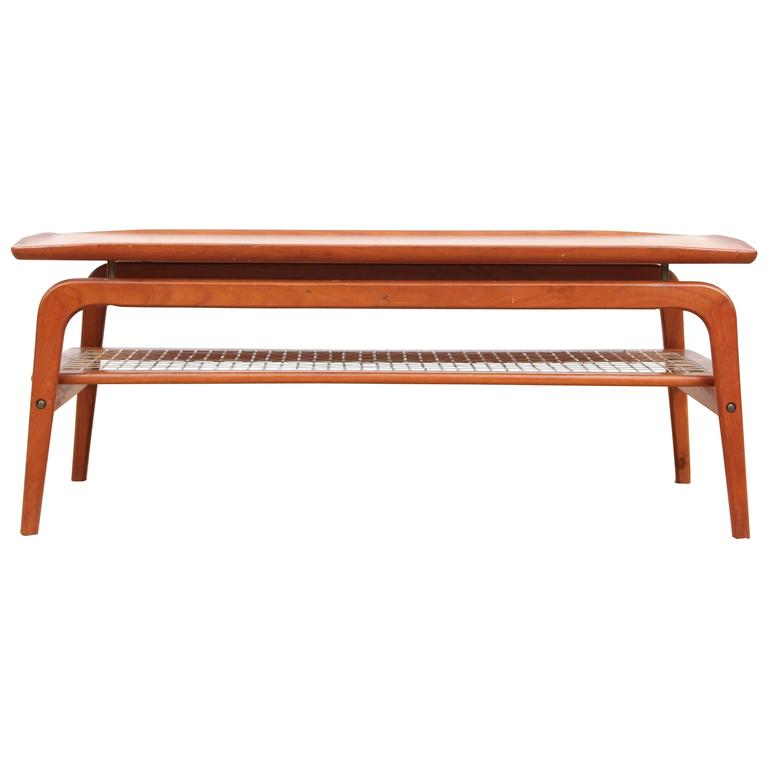 Mid Century Modern Coffee Table In Teak And Cane At 1stdibs