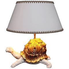 1970s Ceramic Tortoise Lamp