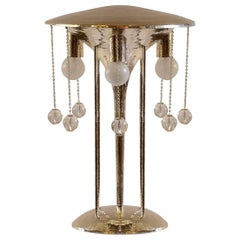 Secessionist J. Hoffmann&Wiener Werkstaette sivered brass Table lamp Re-Edition