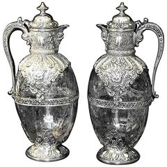 Pair of Antique English Silver Mounted Claret Jugs