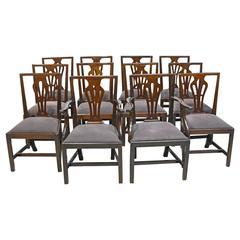 Set of 12 George III Mahogany Dining Chairs, England, circa 1810
