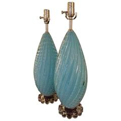 Pair of Sky Blue Murano Glass Table Lamps