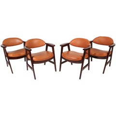 Set of Mid-Century Modern Vinyl Dining Chairs
