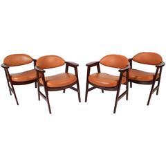 Set of Mid-Century Modern Vinyl Dining Chairs