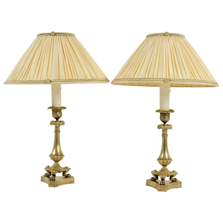Pair Of French Restauration Period Gilt Bronze Candlestick Lamps, Circa  1840 For Sale