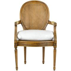 Louis XVI Armchair with Cane Back and Seat