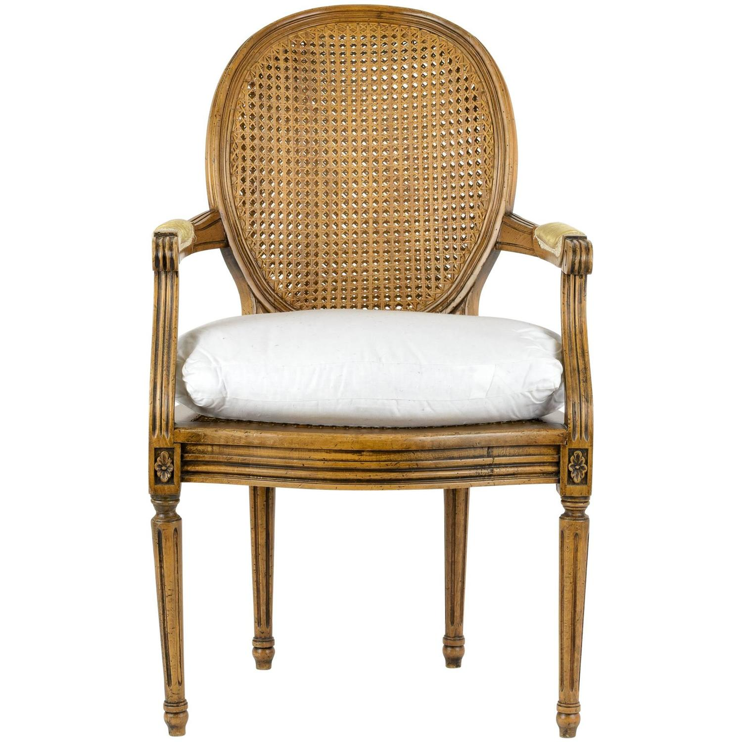 Louis XVI Armchair with Cane Back and Seat For Sale at 1stdibs