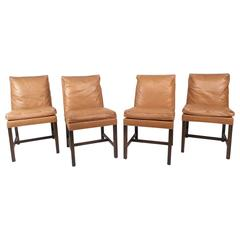 Set of Mid-Century Modern Faux Ostrich Covered Dining Chairs
