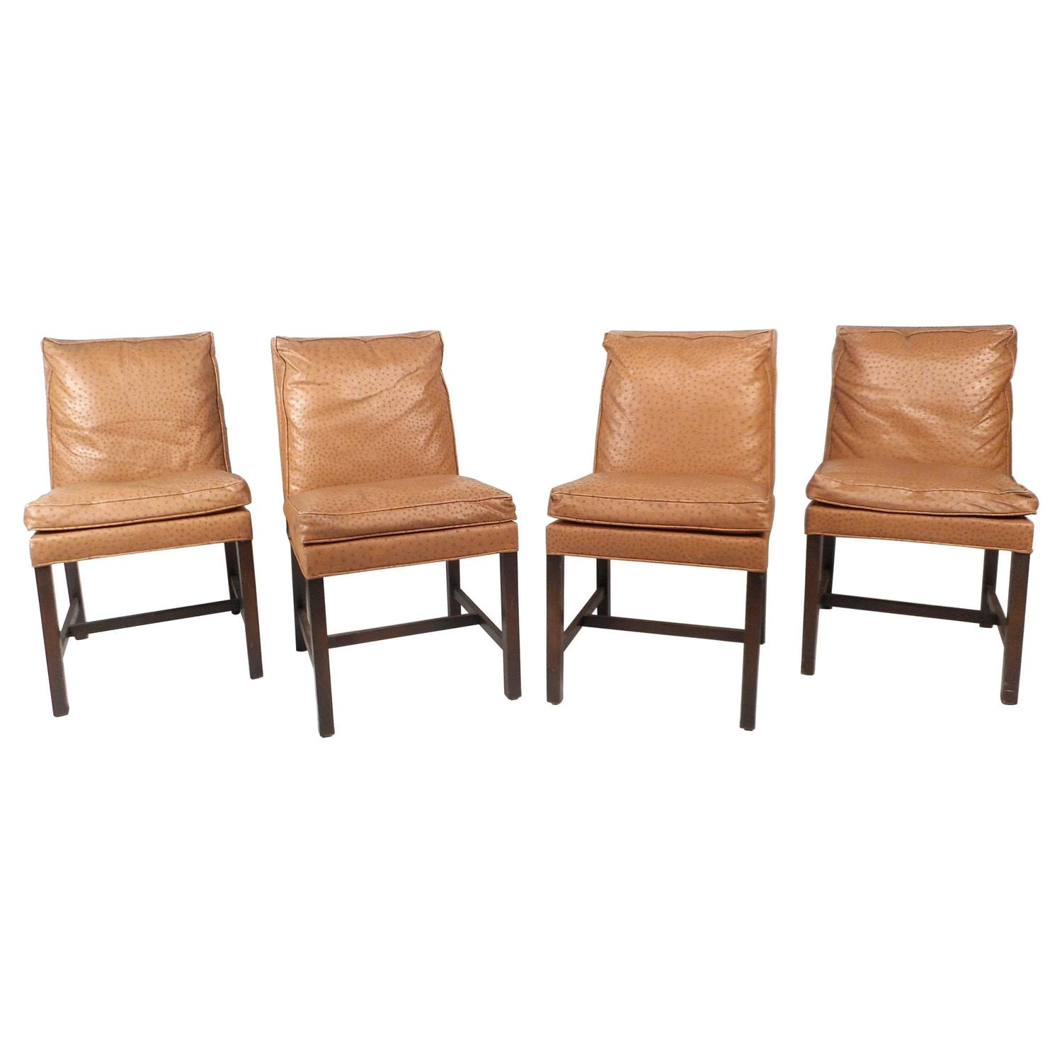 Set Of Mid Century Modern Faux Ostrich Covered Dining Chairs For Sale At  1stdibs