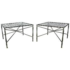 Pair of Architectural Iron Benches or Ottomans by John Salterini, 1950s