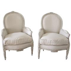 Pair of Painted and Upholstered Belgian Linen Louis XVI Style Bergere Chairs