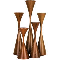 Group of Handmade Danish Modern Walnut Candlesticks by Rude Osolnik, 1970s