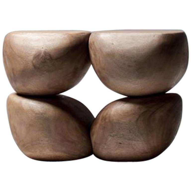 Mauro Mori Quattor Table (Ed 9) Hand-Carved in Albizia Rosa Wood For Sale