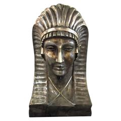Large Silvered Bronze Egyptian Revival Bust