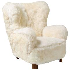 Sheepskin Lounge Chair In The Style Of Flemming Lassen
