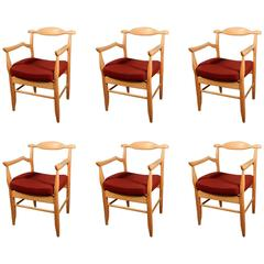 Guillerme et Chambron, Set of Six Oak Armchairs, Edition Votre Maison