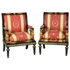 Pair of French Empire Revival Bronze Mounted and Gilt Sphinx Armchairs
