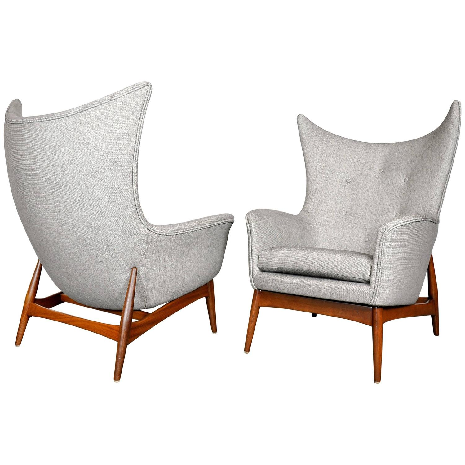 Pair of H W Klein for Bramin Teak Wingback Lounge Chairs at 1stdibs