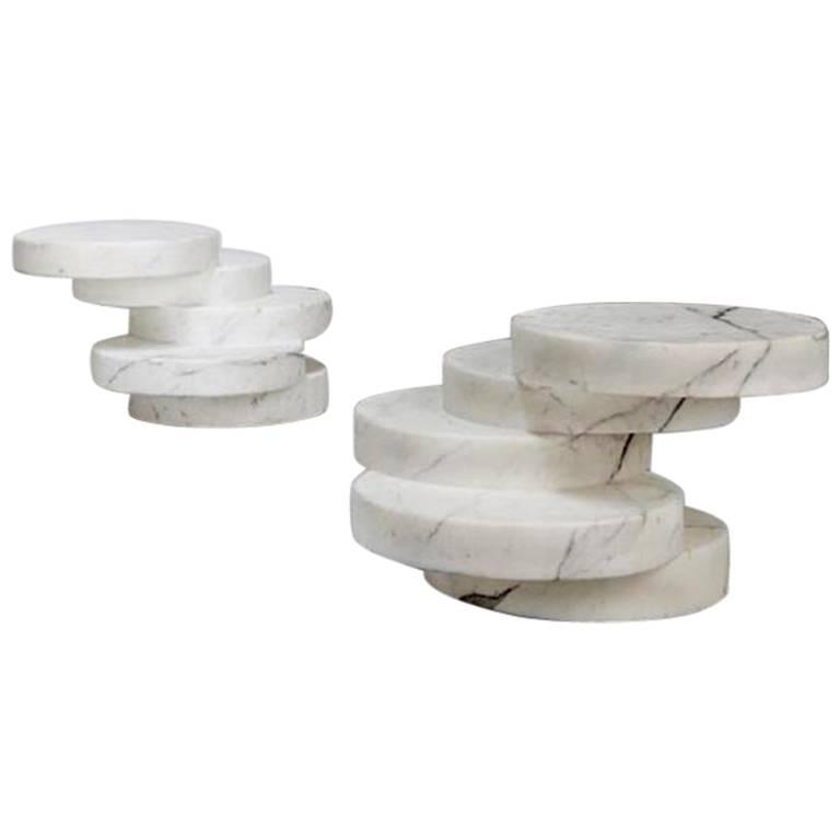 Mauro Mori Movimento Basso Table Hand-Carved in Statuario marble
