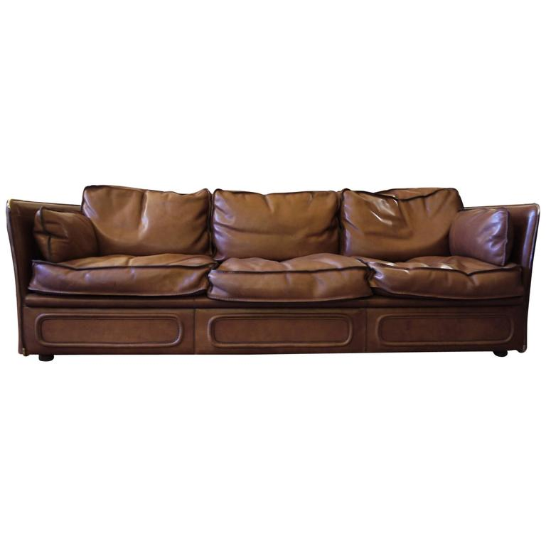 mid century modern gorgeous leather sofa by roche bobois. Black Bedroom Furniture Sets. Home Design Ideas