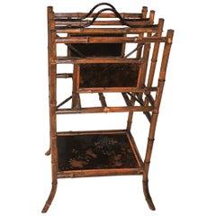Wonderful 19th Century English Bamboo Chinoiserie Magazine Rack Stand Canterbury
